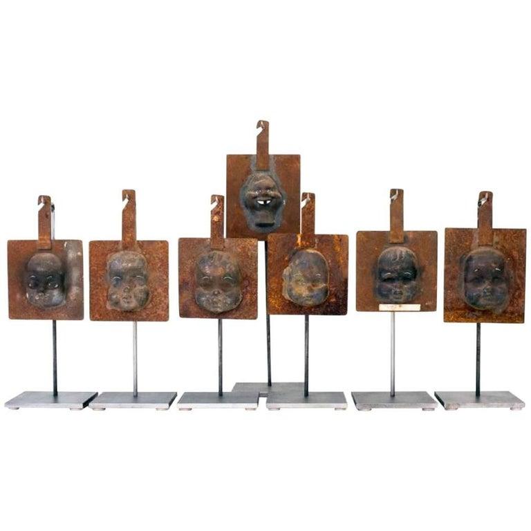 Decorative Metal Doll Head Molds Objet de Virtu on Custom Stands For Sale