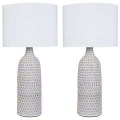 Pair of XXL White Carved Bottle Lamps by Victoria Morris