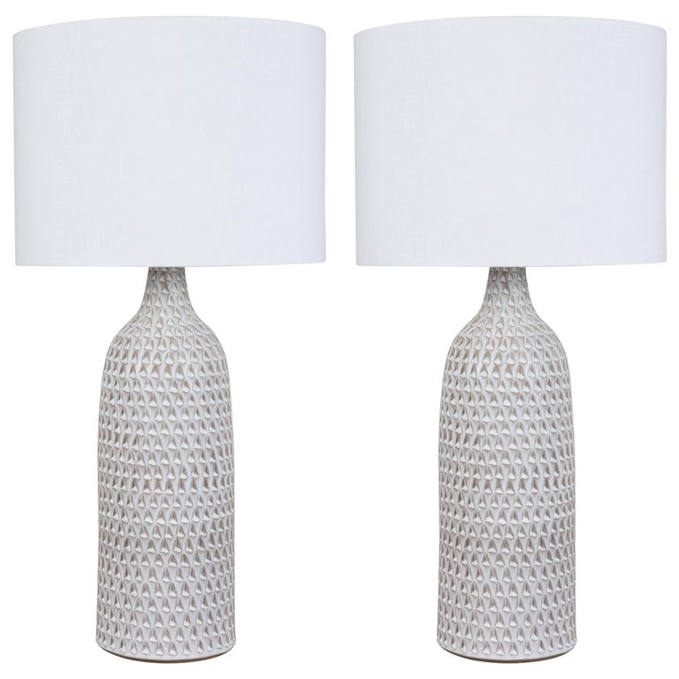 Pair of XXL White Carved Bottle Lamps by Victoria Morris For Sale
