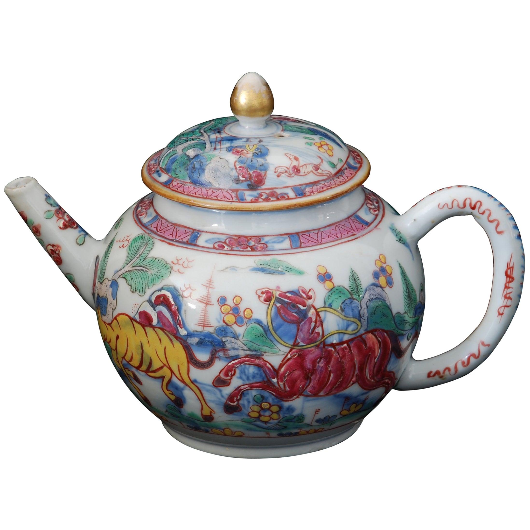 Teapot, Prancing Ponies, China, circa 1760, Decorated in London