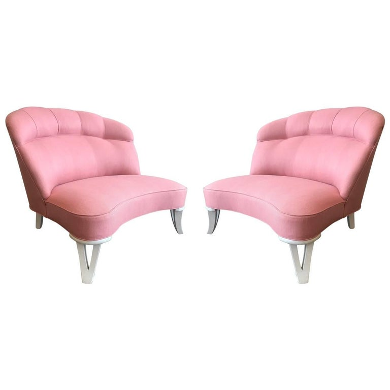 Pair of 1960s Tufted Back Slipper Chairs