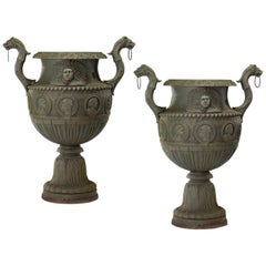 Pair of Monumental Neoclassical Style Cast Iron Urns