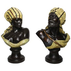 Orientalist Pair of Austrian 19th Century Polychromed Busts of a Bedouin Couple