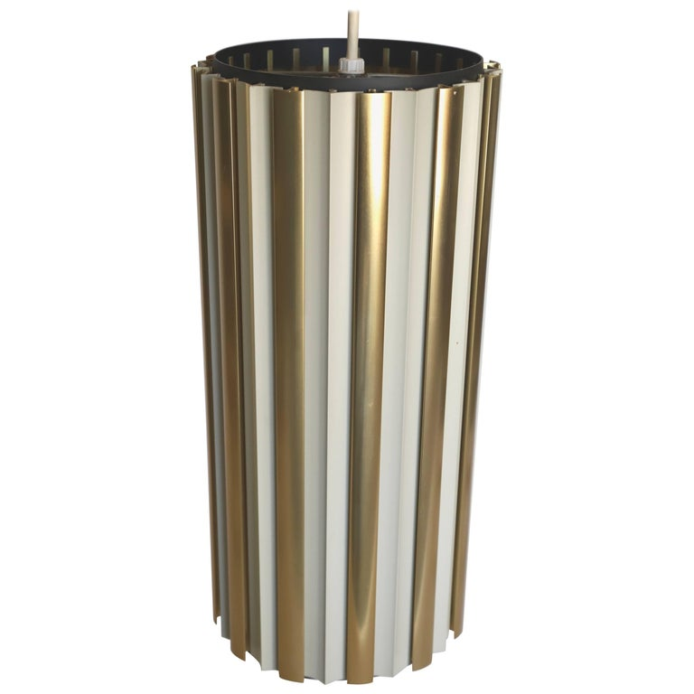 Brass Lightolier Tubular Pendant Light
