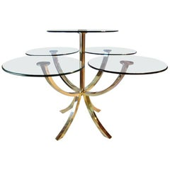 Midcentury Brass and Glass Dining Table Circle of Life D. I. A., 1970