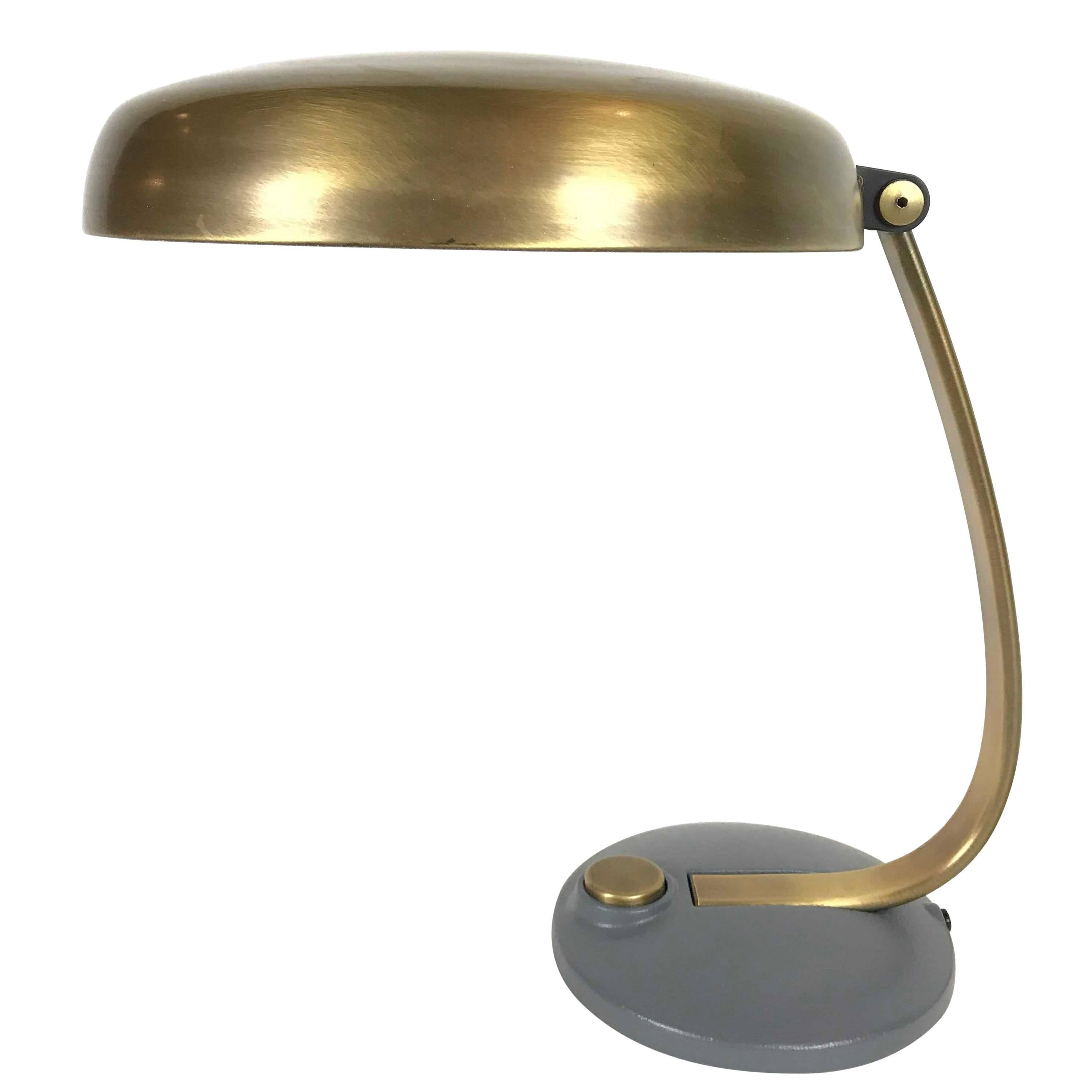Hillebrand UFO Mid-Century Brass Table Lamp, 1960s Germany