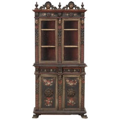 Dminutive Continental Baroque Style Carved Pained Vitrine