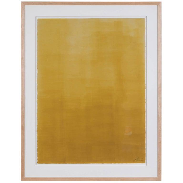 Mustard Gradient Monoprint #19 by Anna Ullman For Sale