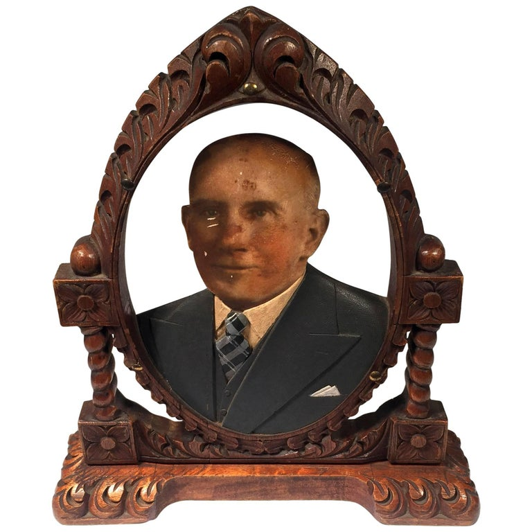 Oval Fotoescultura of Old Bald Man For Sale