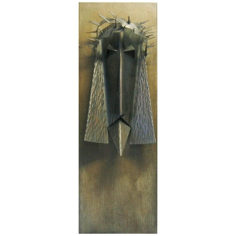 Powerful Modernist Welded Iron Head of Jesus Christ