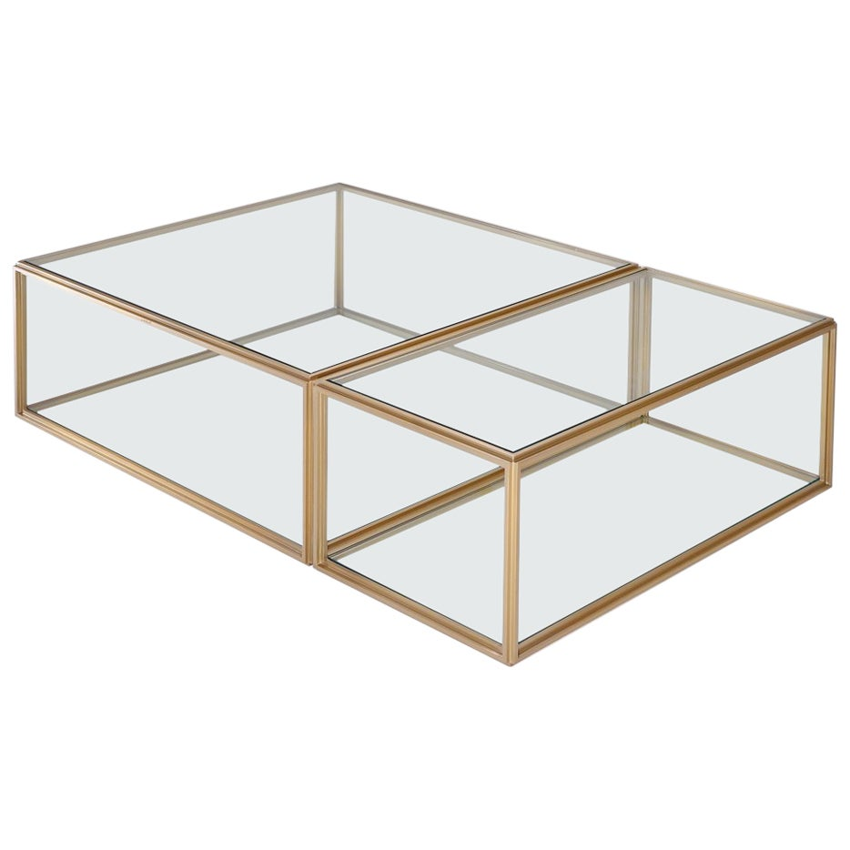 Modular Low Table Collection, Brass and Glass by P. Tendercool
