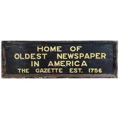 New Hampshire Gazette Trade Sign