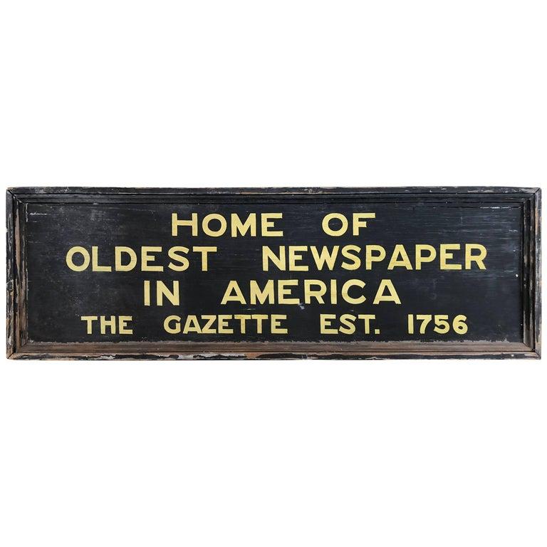 New Hampshire Gazette Trade Sign