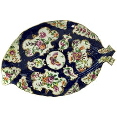 Worcester Leaf Dish of Large Size, Scale Blue and Flowers, circa 1770