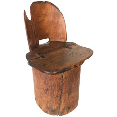Early 19th Century Primitive Log Chair, Kubbstol
