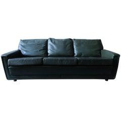 Danish Green Leather Three-Seat Sofa, Mid-Century