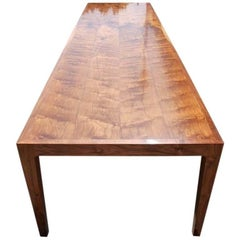 Parsons Table in Bookmatched Walnut, Custom Made by Petersen Antiques