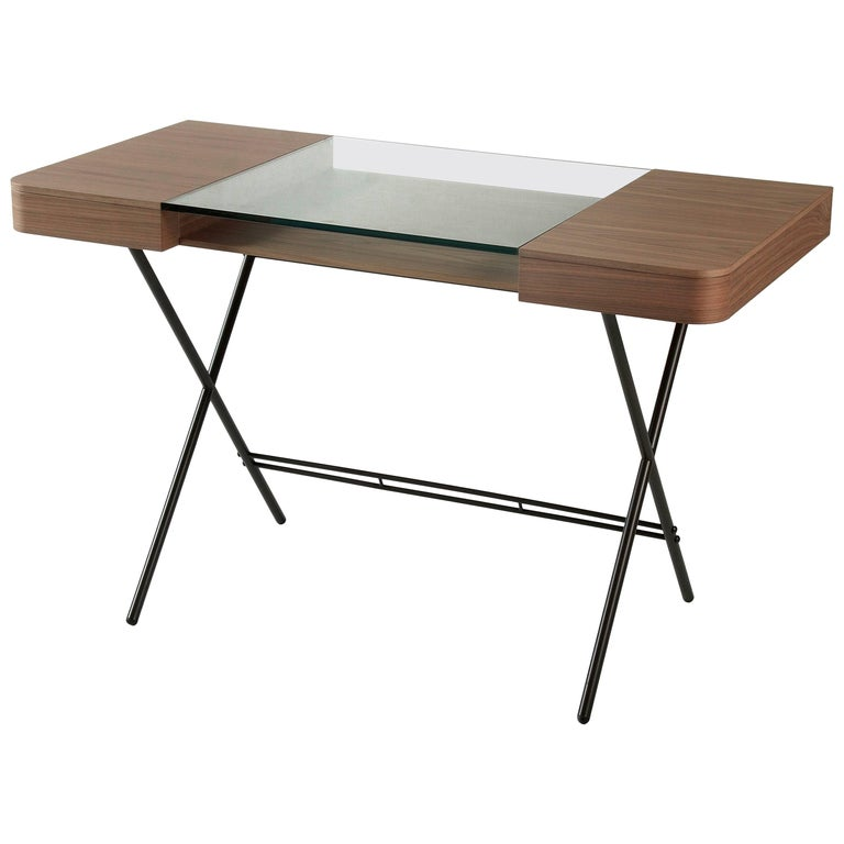 Contemporary Cosimo Desk by Marco Zanuso Jr. with Walnut Veneer and Glass Top For Sale