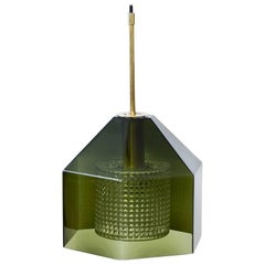 Glass and Brass Pendant Lamp by Carl Fagerlund for Orrefors, Sweden, 1960s