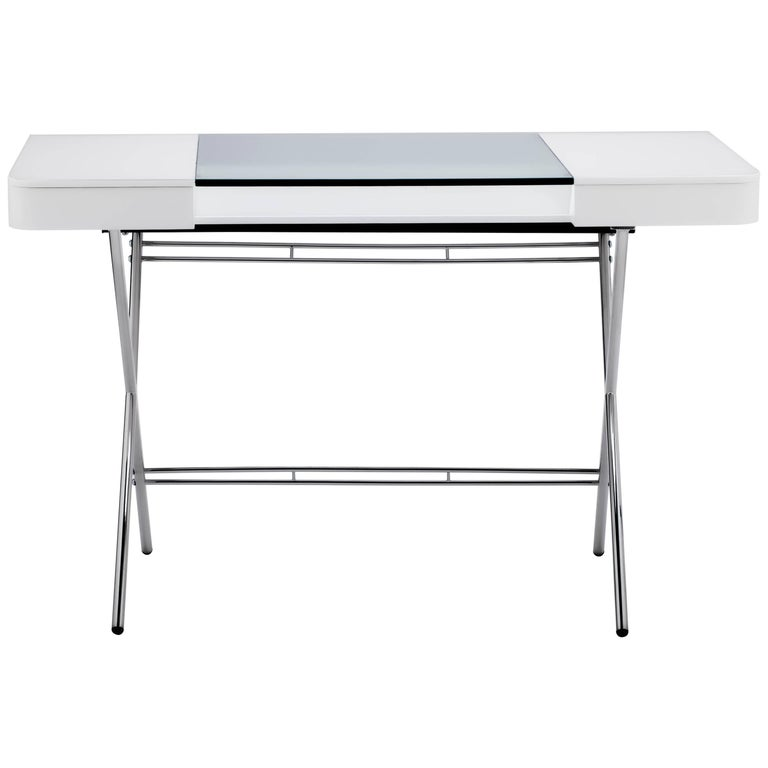 Contemporary Cosimo Desk by Marco Zanuso Jr. White Mat Lacquered and Glass Top For Sale