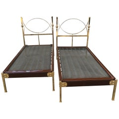 Pair of Italian Single Beds with Head Board and Feet in Gilt Brass from 1960s