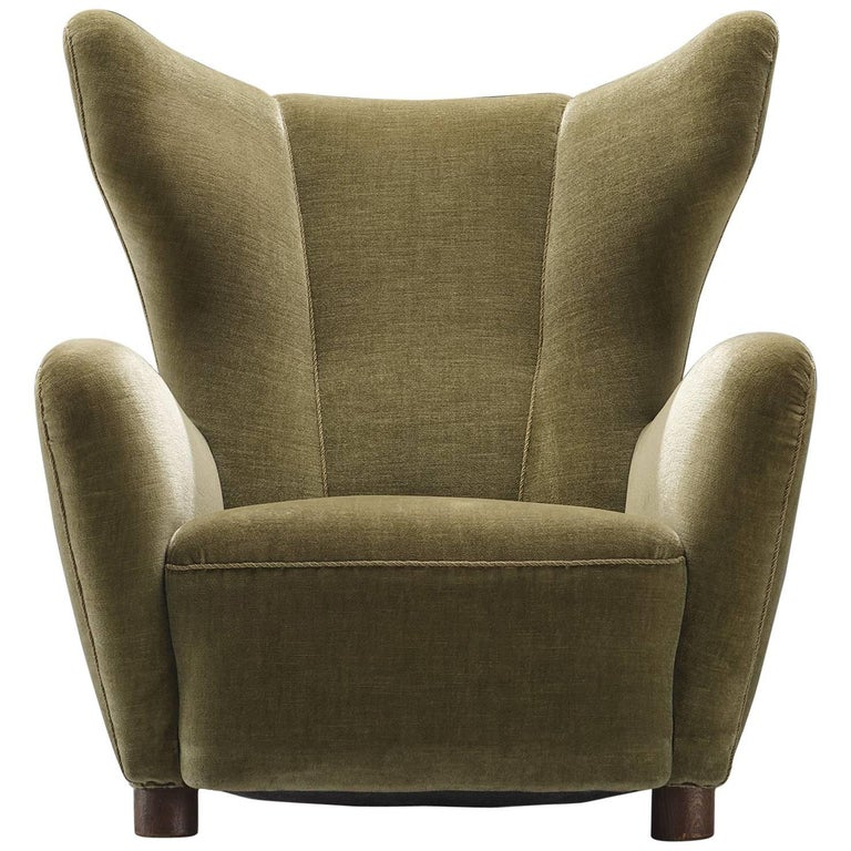 Danish Green Velvet Wingback Chair