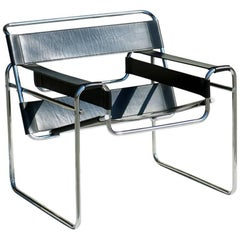 """Wassily"" by Marcel Breuer Bauhaus Style 1970s Design Black Leather Armchair"