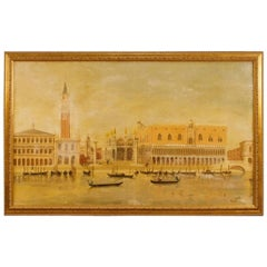 Dutch Oil Painting on Canvas View of Piazza San Marco in Venice Signed and Dated