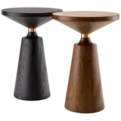 Contemporary Nicole Side Table in Oak or Walnut with Machined Metal Collar