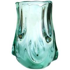 """""""Tronco"""" Flavio Poli by Seguso Vetri D'arte 1930s Emerald Murano Glass Vase"""