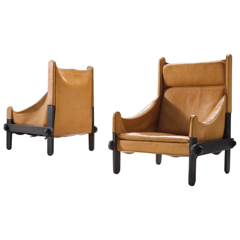French Cognac Leather Pair of Easy Chairs