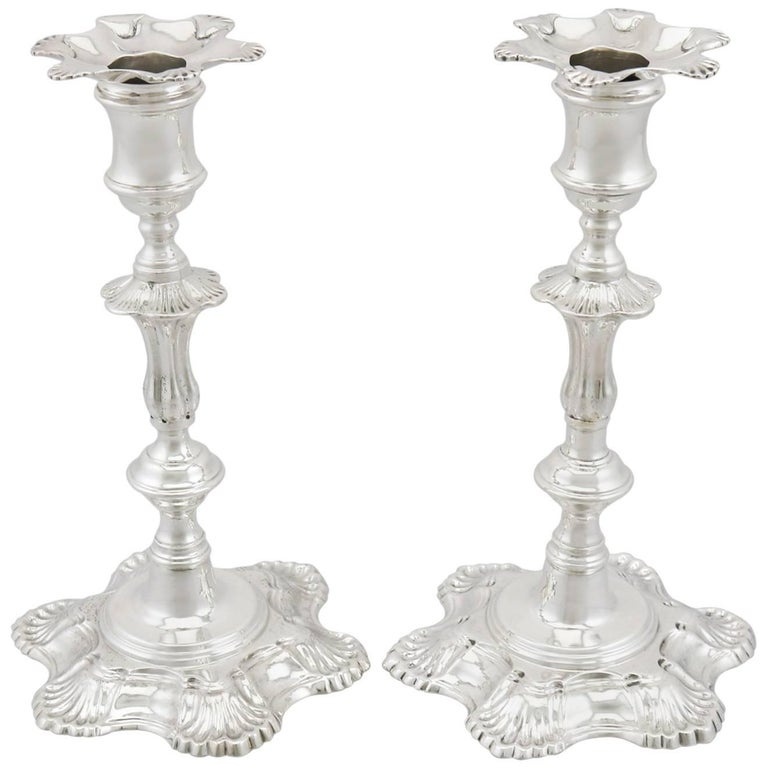 1900s Edwardian Sterling Silver Candlesticks For Sale