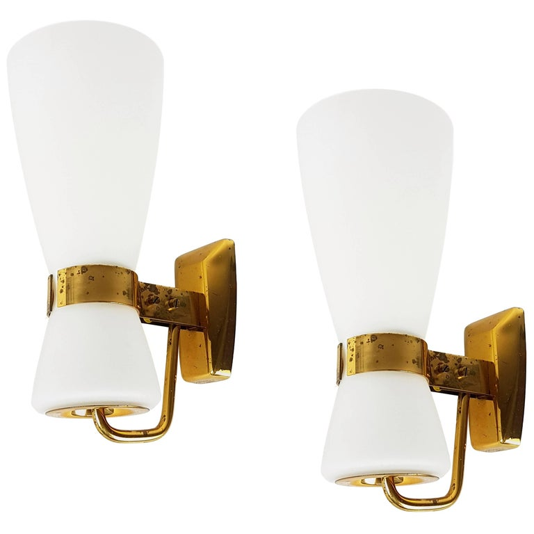 "Rare Pair of Big Brass and Glass Yellow Label ""2118"" Sconce by Stilnovo, 1959"