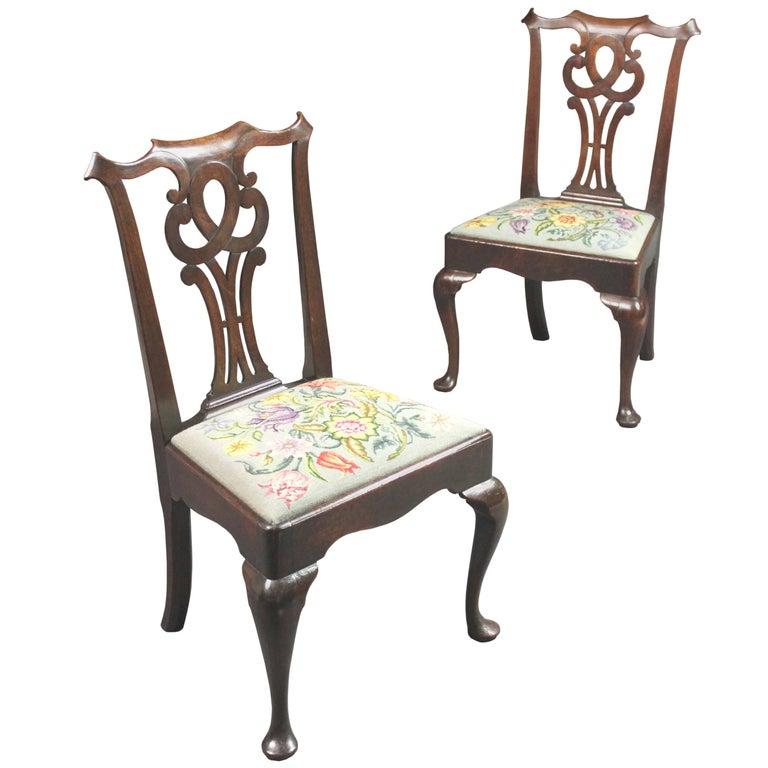 Pair of George II Mahogany Cabriole Leg Chairs