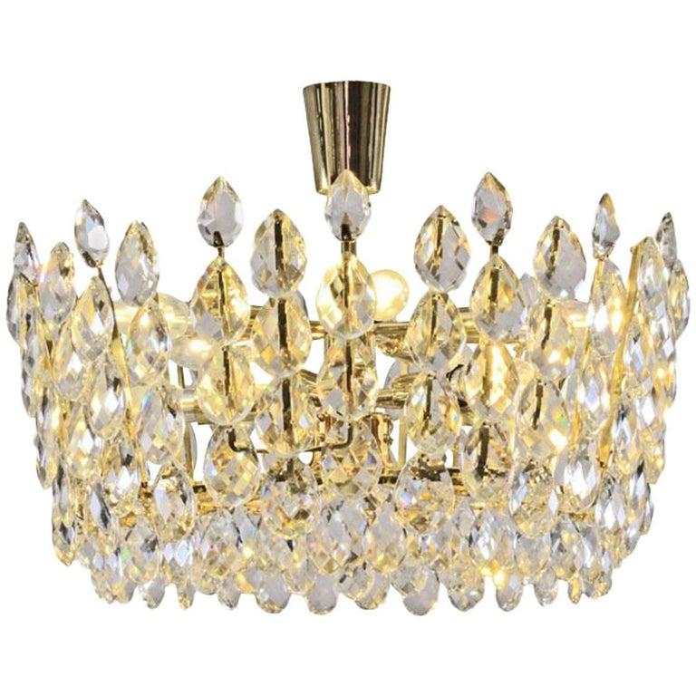 Original Bakalowits Crystal Glass Chandelier Mid Century Modern 1960ies For Sale