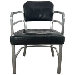 Art Deco Machine Age Aluminum and Leather Armchair by GoodForm