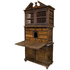 Cupboard with Writing Desk, Wood, Wrought Iron, Asturias, Spain 17th Century