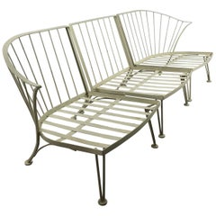 Three Piece Iron Sectional Garden Sofa by Russell Woodard