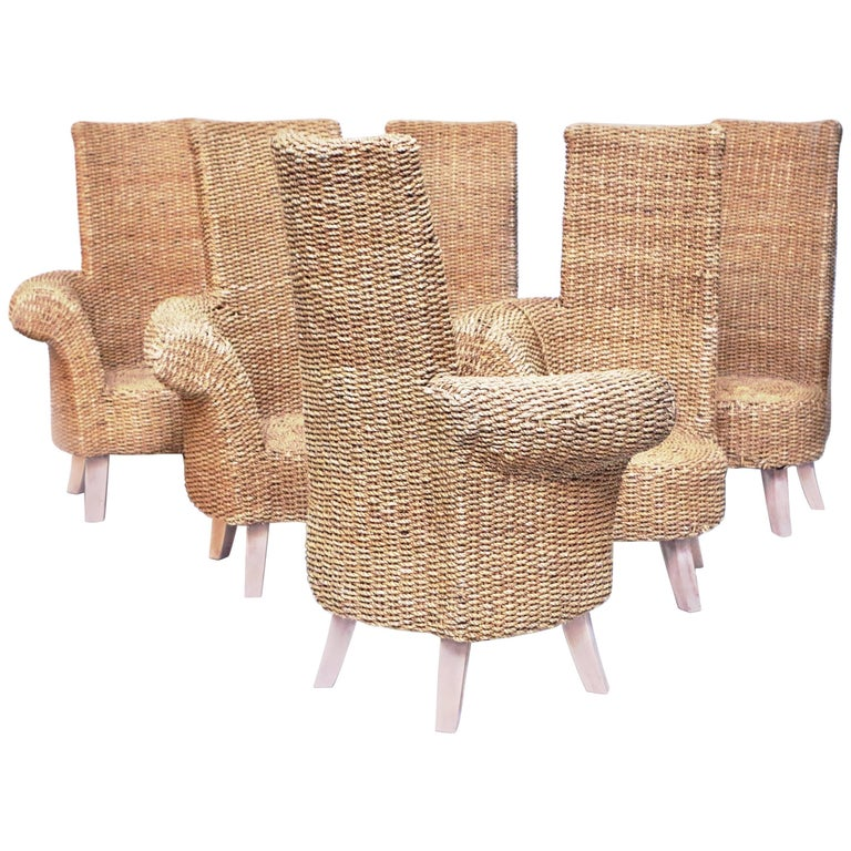 Set of Six Braided Rope Armchairs with One Winding Armrest, circa 1960