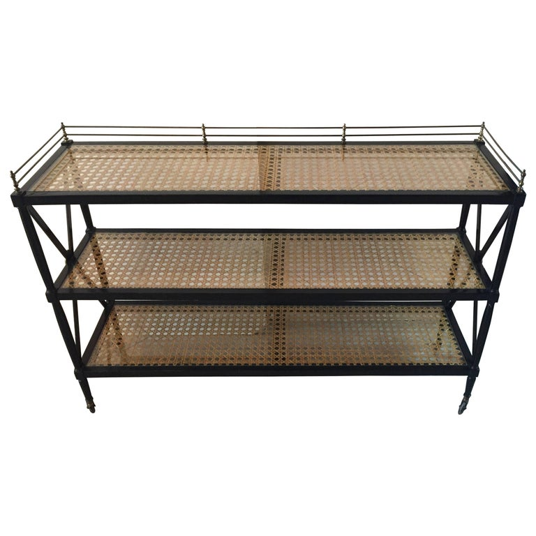 Sophisticated Regency Style Three-Tier Ebonized and Caned Console Server