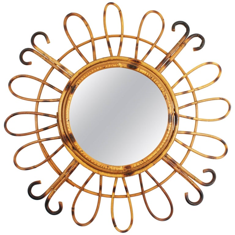 French Riviera Handcrafted Rattan and Bamboo Sunburst Mirror, France 1950s