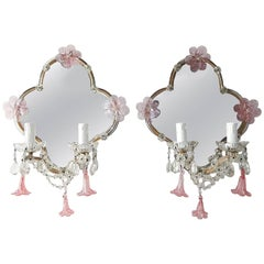 Huge Maison Baguès Style Mirror with Pink Murano Flowers Sconces
