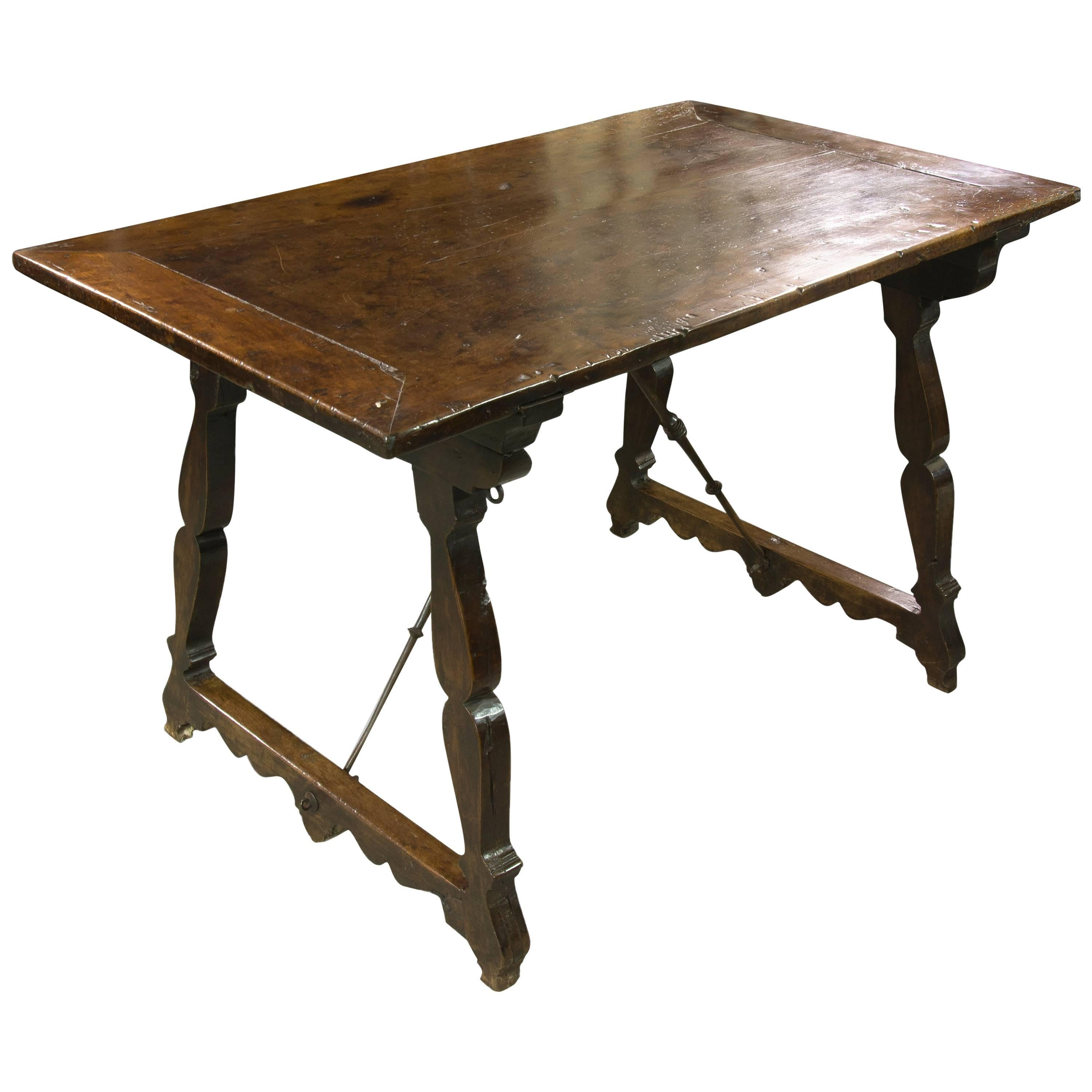 Walnut and Wrought Iron Table, Spain, 17th Century