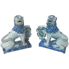 Pair of 18th Century French Faience Lions