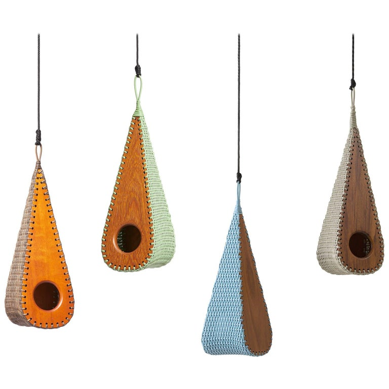 Gotinha Brazilian Contemporary Wood Outdoor Birdhouse by Lattoog