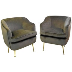 """Pair of Italian Club Chairs, Newly Upholstered in """"Mink"""" Velvet"""