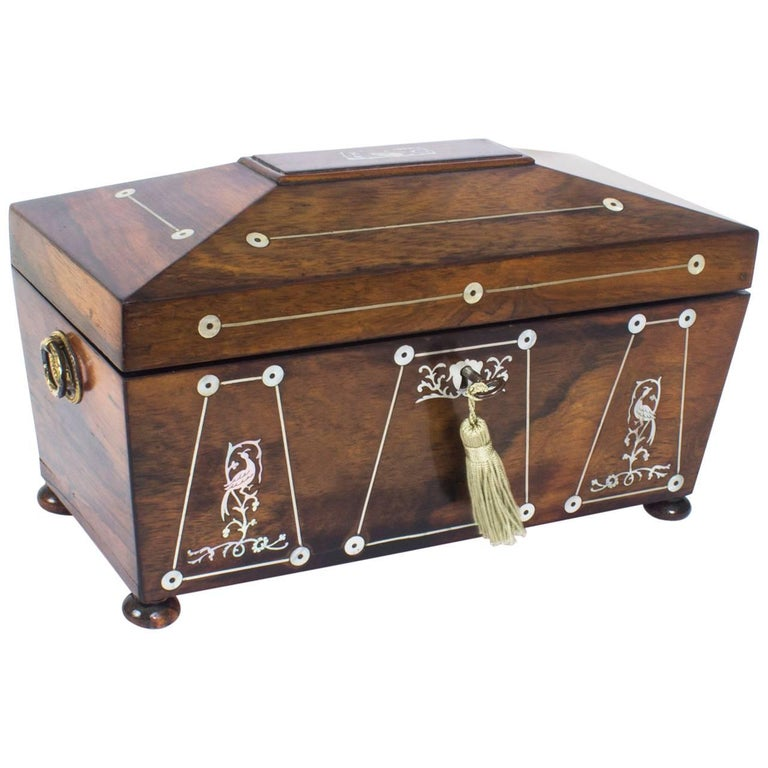 Antique Regency Rosewood And MotherofPearl Inlaid Casket Th - Casket coffee table