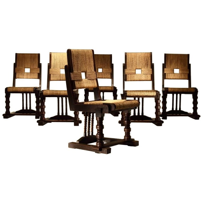 Set of Six Oak and Rush Chairs