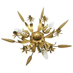 LS Gilt Metal Ceiling Lamp, Italy