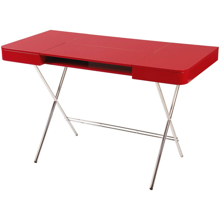 Contemporary Cosimo Desk by Marco Zanuso Jr. Red Glossy Lacquered Top For Sale